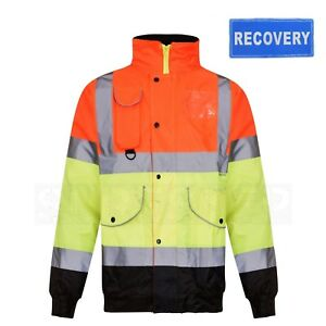 Hi Viz Recovery 3 Colour Bomber Jacket with RECOVERY Back Badge Option |S-3XL|