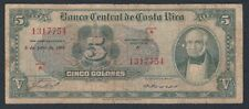 🇨🇷COSTA RICA BANKNOTE • 5 COLONES • JULY 8, 1953 • SERIES A • F •