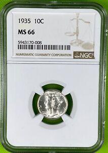 1935 10c Mercury Dime 90% Silver NGC MS66 (008)