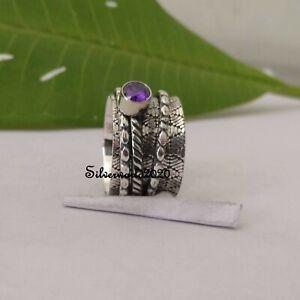 Amethyst Ring Spinner Ring 925 Sterling Silver Plated Handmade Ring Size 9 vi308
