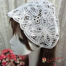 One Vintage Handmade Battenburg Lace Hat Bonnet Maid Cap~White~Victorian~Elega nt