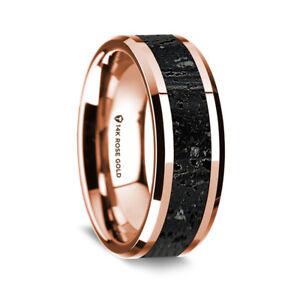 14K Rose Gold Polished Beveled Edges Wedding Ring Lava Inlay - 8mm