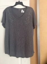 New Eyeshadow - Blended Gray Color/studed Front women  Top Plus Size 1X ($40)