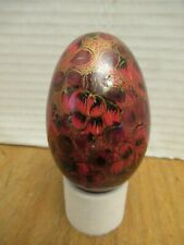 Collectible Decorative egg, With Red and gold flowers pattern. Hand painted