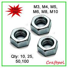 M3, M4, M5, M6, M8, M10 Hex Full Nuts - Class 8 - Zinc Plated