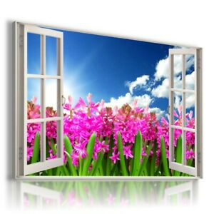 PINK FLOWERS FIELD SKY SUMMER SPRING View Canvas Wall Art W709 UNFRAMED