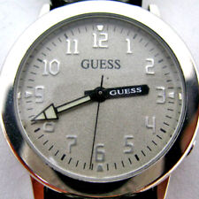 GUESS Mens Womens Wristwatch Watch Metallic Chrome Silver Tone Leather Band Men