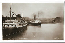 The Harbour, Folkestone RP PPC, 1935 PMK to Gloucester Ave, London, W/ Steamers