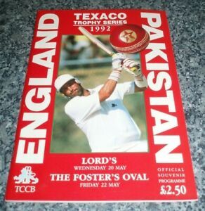 CRICKET 1992 ENGLAND Vs PAKISTAN OFFICIAL PROGRAMME TEXACO LORDS OVAL ONE DAY