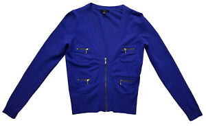 Ann Taylor Blue Long Sleeve Size Small Sweater Coat Cardigan Zip Front
