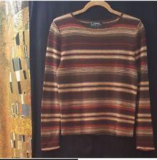 Ralph Lauren brown multi striped sweater,  Petite Medium or P/M
