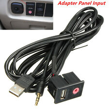Car 3.5mm USB AUX Headphone Male Jack Flush Mounting Adapter Panel Input Cable