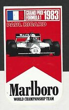 Original Marlboro Team Alfa Romeo Paul Ricard GP 1983 período Etiqueta Autocollant