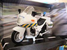 Police Emergency Motorbike White With Friction Power
