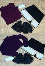 "ADULT REAL Maroon Black Cheerleader Uniform 2 Tops Skirt Socks Poms 40-42/31-32"""