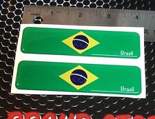 "Brazil Brasil Flag Proud Domed Decal Emblem Car Flexible 3D 4""x1"" Set of 2"