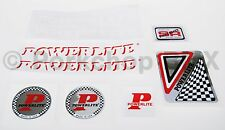 Official 1978-83 Powerlite old school BMX decal SET RED FRAME WHITE FORK