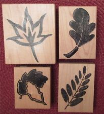 4 Stamps Fall Leaves Leaf Mounted Rubber Unbranded Brand New