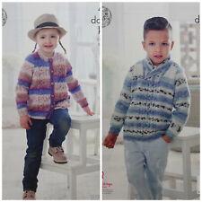 Knitting pattern per bambini Cavo Pannello Cardigan & Maglione Splash DK King Cole 4915