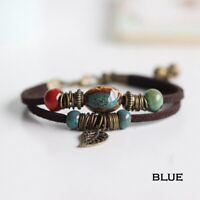 Fashion Men Womens Handmade Leather Bracelet Braided Bangle Wristband Wrap Gift