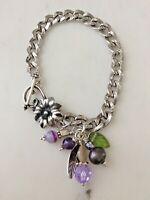 Vintage Sterling Silver Starter Chased Charm Bracelet Floral Toggle Clasp