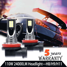 2* H11/H9/H8 LED Car Headlight Bulb Fog Light Car Driving Lamp DRL 110W 24000LM