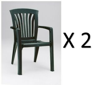 """PAIR of HIGH QUALITY NARDI """"DIANA"""" STACKING CHAIRS in DARK FOREST GREEN"""