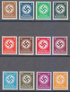 Germany 1934 MNH Mi 132-143 Sc O80-O91 OFFICIAL STAMPS. Swastika. Wmk 237 **