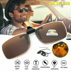 Brown Polarised Clip On Flip up Style Sunglasses Eyewear driving Fishing cycling