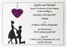50 Handmade Personalised Wedding Invitations Day or Evening - Envelopes Included