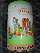TOP BARIL DE CONSTRUCTION 100 PIÈCES BLOCK BOIS DE COULEURS +18 MOIS