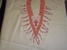 Hand Woven Tapestry Necklace One of a Kind Rose Quartz Glass Beads Fossil Beads