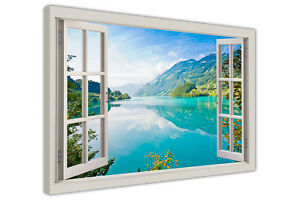 LAKES MOUNTAINS FOREST 3D WINDOW BAY VIEW CANVAS WALL ART PRINTS FRAMED PICTURES