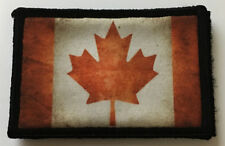 Distressed Canadian Flag Morale Patch Tactical Military Hook Badge Army Maple