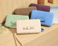 Women Ladies Bowknot Leather Purse Money Clip Wallet Clutch Card Bag Coin Holder