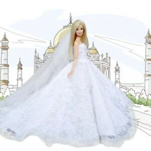 Dolls Dress Clothes For Barbie Doll White Bridal dress wedding Gown