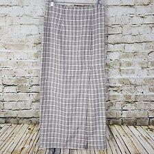 La Belle Fashions Skirt Womens Juniors Size 9 Brown White Plaid Long Modest Slit