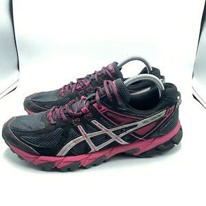 Asics Womens Gel Sonoma T4F7N Lace Up Black Pink Athletic Running Shoes US 11