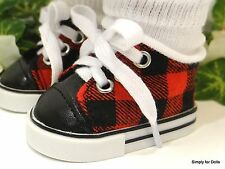 "RED & BLACK Plaid DOLL SNEAKERS SHOES fits 18"" AMERICAN GIRL Doll Clothes F/Z"