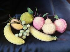 8 Life Sized Beaded Sugar Frosted Artificial Faux Fruit Apple Bananas Etcl