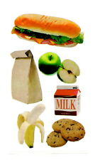 Lunch Stickers Sandwich Milk Banana Cookies Apple Brown Bag New Acid Free