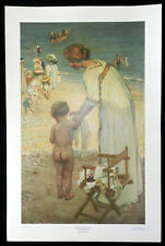 "E. PHILLIPS FOX ""On the Beach 1909"" Vintage Fine art print"