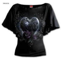 Spiral Ladies Gothic Ladies Crow Purple Roses RAVEN HEART Bat Wing Top All Sizes