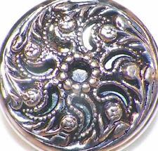 Vintage Twinkle Button Pierced Filagree Scrolls Silvertone Mirror Back #42