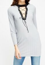 New* Grey Ribbed Lace Up Open Neck & Back, Fitted Tunic Longer Top. Size 10-12
