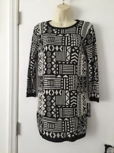 NWT New Directions Sweater Tunic Top Dress Small S Black White Tribal Geometric