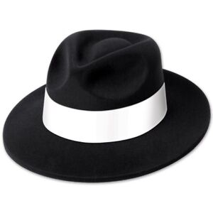 Adult Hat Velour Covered Black Plastic Fedora With White Band