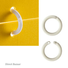 20 x Plastic Round Hanging Lockable Rings, White / Diameter 22mm