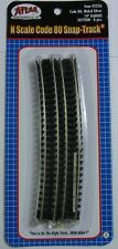 """ATLAS 2526 N Scale Code 80 Track 19"""" Radius Curve Qty(6 pieces)"""