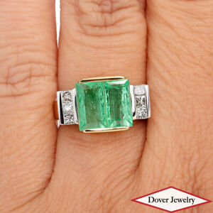Estate Diamond 3.66ct Emerald 14K Gold Elegant Cocktail Ring 10.1 Grams NR